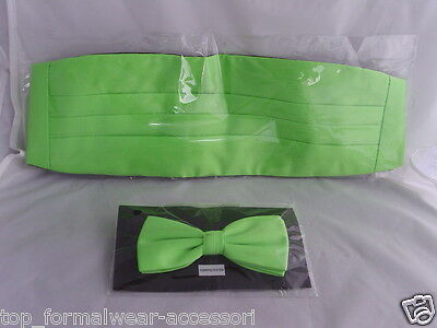 Cummerbund and Hankie/>/< FREE />P/&P 2UK/>/>1st Class-60 colours LIME Green Bow tie