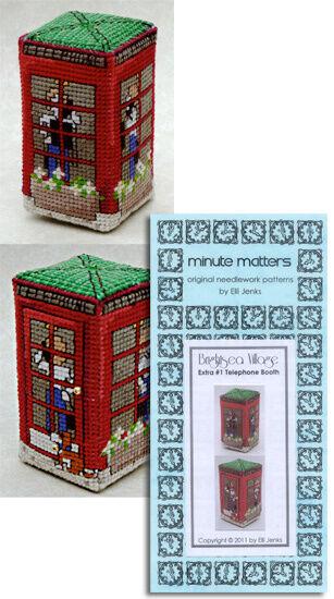 Telephone Booth Cross Stitch Pattern BrightSea Village 3D