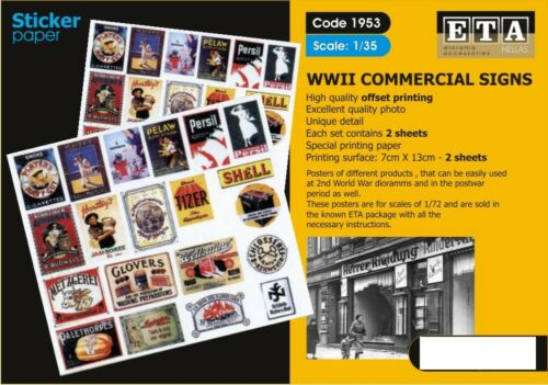ETA Diorama 135 WWII Commercial Signs Sticker 2 sheets