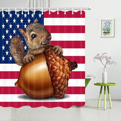 Wild Animal Squirrel Pine Nuts White Waterproof Bathroom Shower Curtain Bath Rug