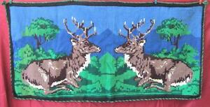 19C. HANDWOVEN & EMBROIDERED TAPESTRY GOBELIN w/DEERS HUNTING SCENE