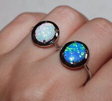 fire opal ring gemstone silver jewelry Sz 5.5 6 7.5 engagement cocktail band CB6