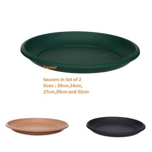 Pack of 2 PLASTIC PLANT POT SAUCER ROUND BASE WATER TRAY 20cm 24cm 27cm 29cm