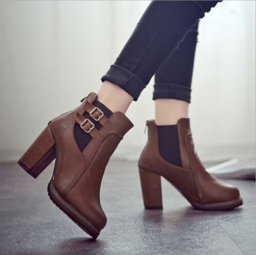 Classic 2Color Fashion Ms Zipper Warm Ankle Boot Block Heel Buckle Shoes US6.5-8