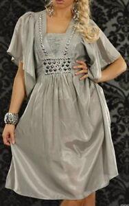 Trendy-Femme-Girly-Robe-Tunique-Argent-Pierres-Satin-Brillant-34-36-38-Gris