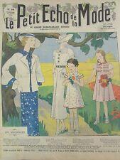 LE PETIT ECHO DE LA MODE N° 30 de 1935 GRAVURE VINTAGE VACANCE A LA CAMPAGNE