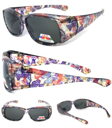 Damen Polarisierend Sonnenüberbrille Hülle Rx Brillen Strass