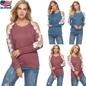 Women-Sexy-Lace-Cold-Shoulder-Shirt-Long-Sleeve-Slim-Blouse-Top-T-Shirt-Oversize