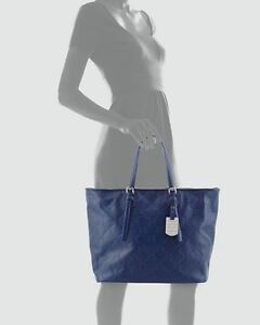Image Is Loading Longchamp Lm Cuir Large Tote Navy Blue Bag