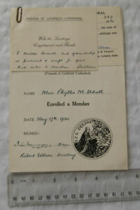 1950 enrollment certificate The Fellowship of S. Chad, Lichfield Cathedral