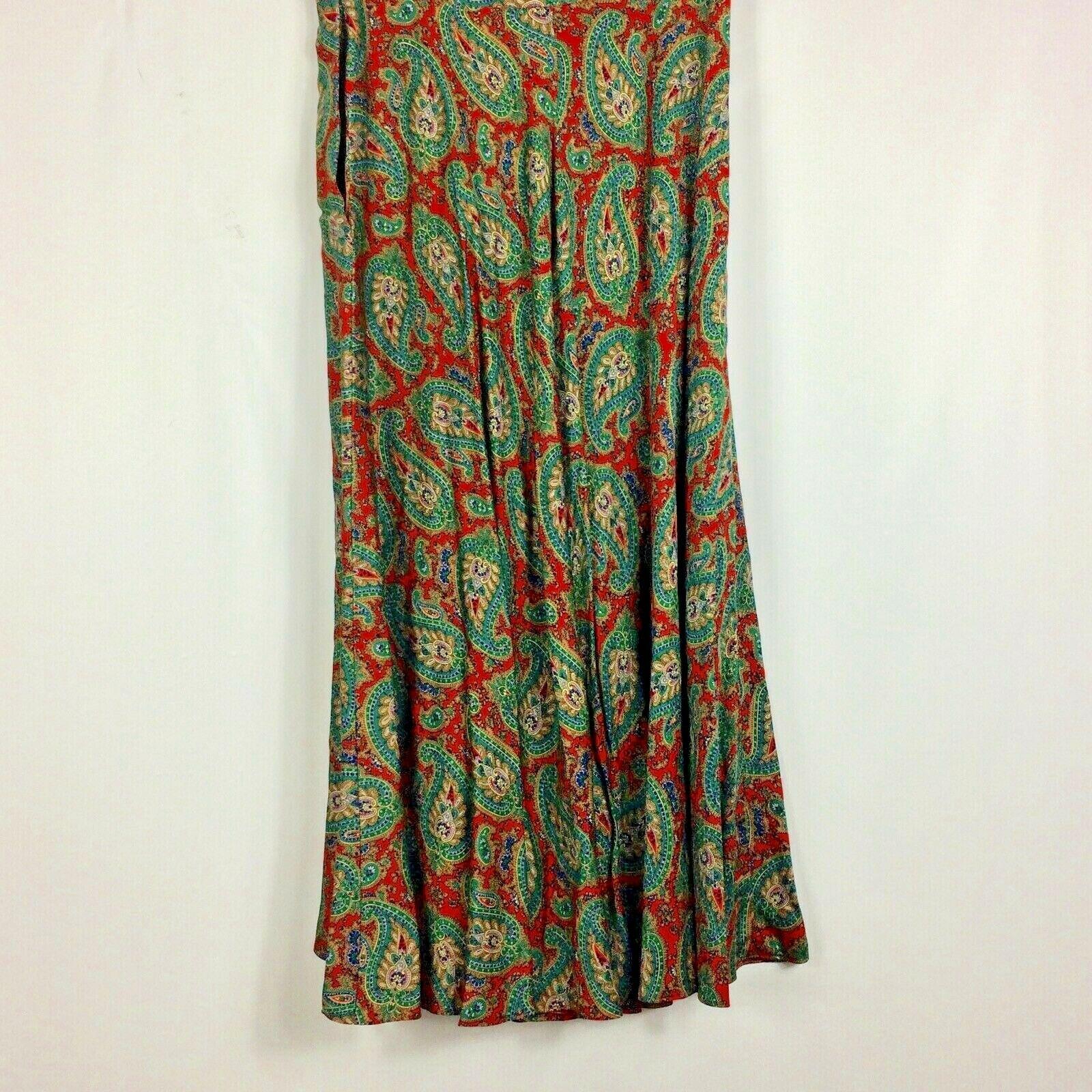 Ralph Lauren Maxi Skirt Red Green Paisley Print R… - image 6
