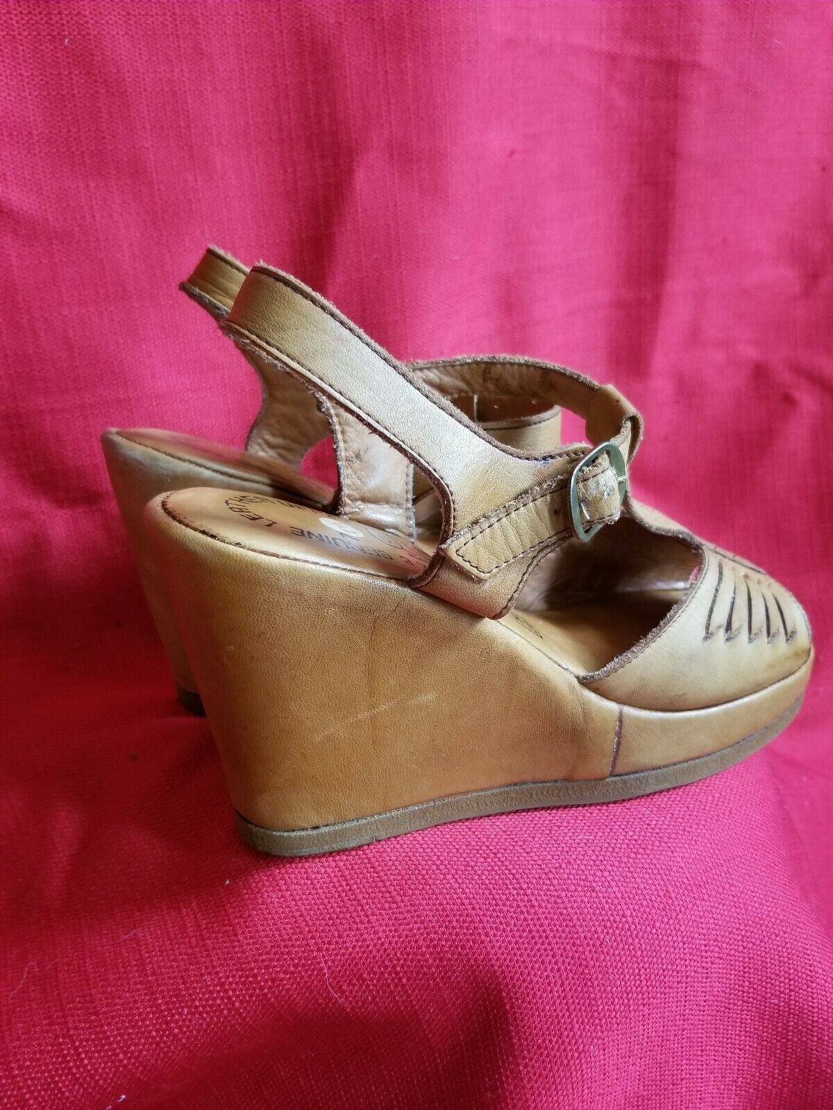 Vtg 1970s does 40s Leather Wedge Sandals Size 7.5… - image 3