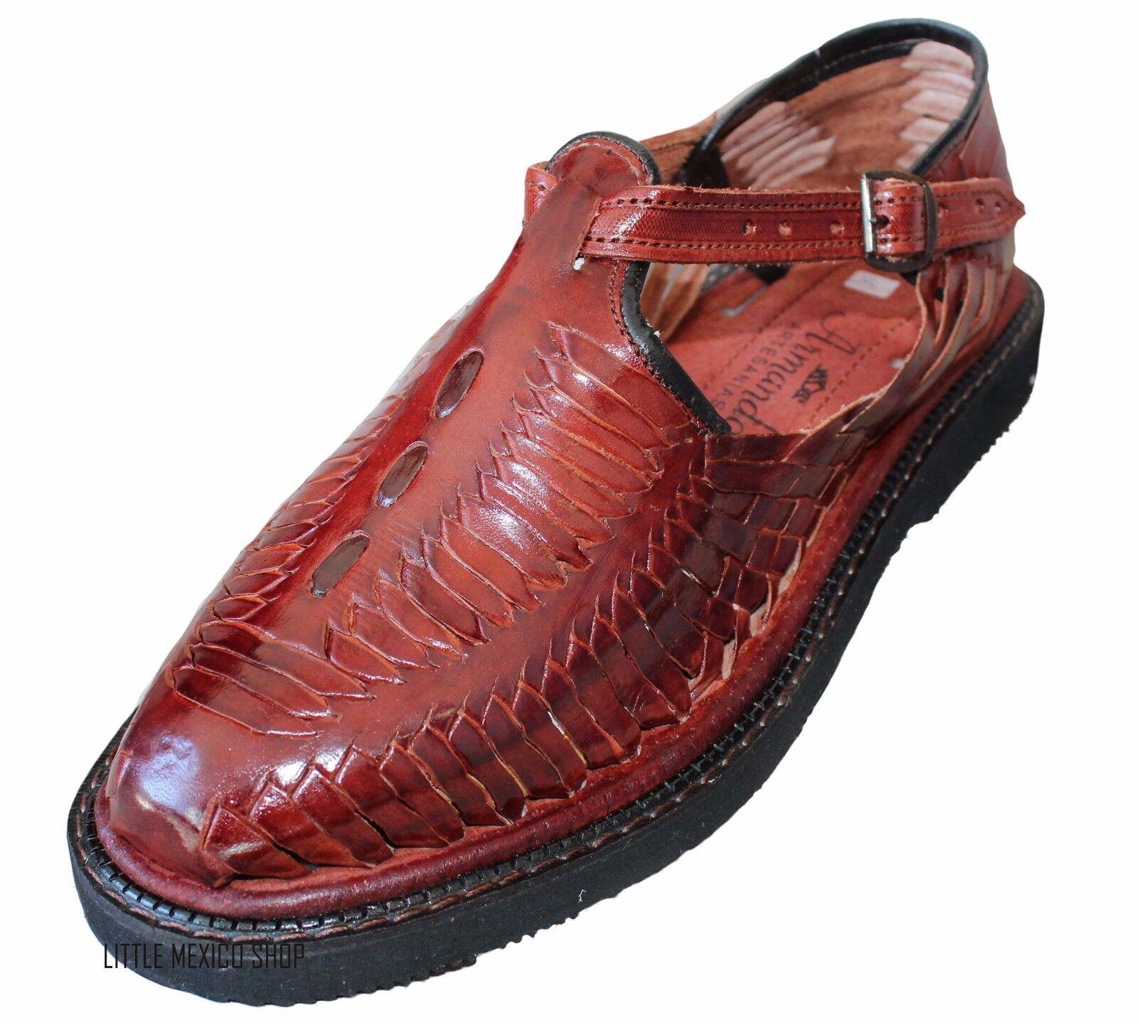 Men's Closed Toe Huarache Sandals WINE - MEXICAN HUARACHES Leather Mocassin