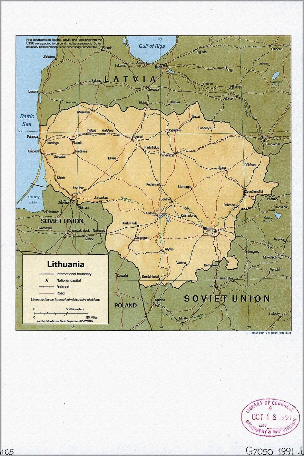 Plakat, Viele Größen; Cia-Fia Karte von Litauen