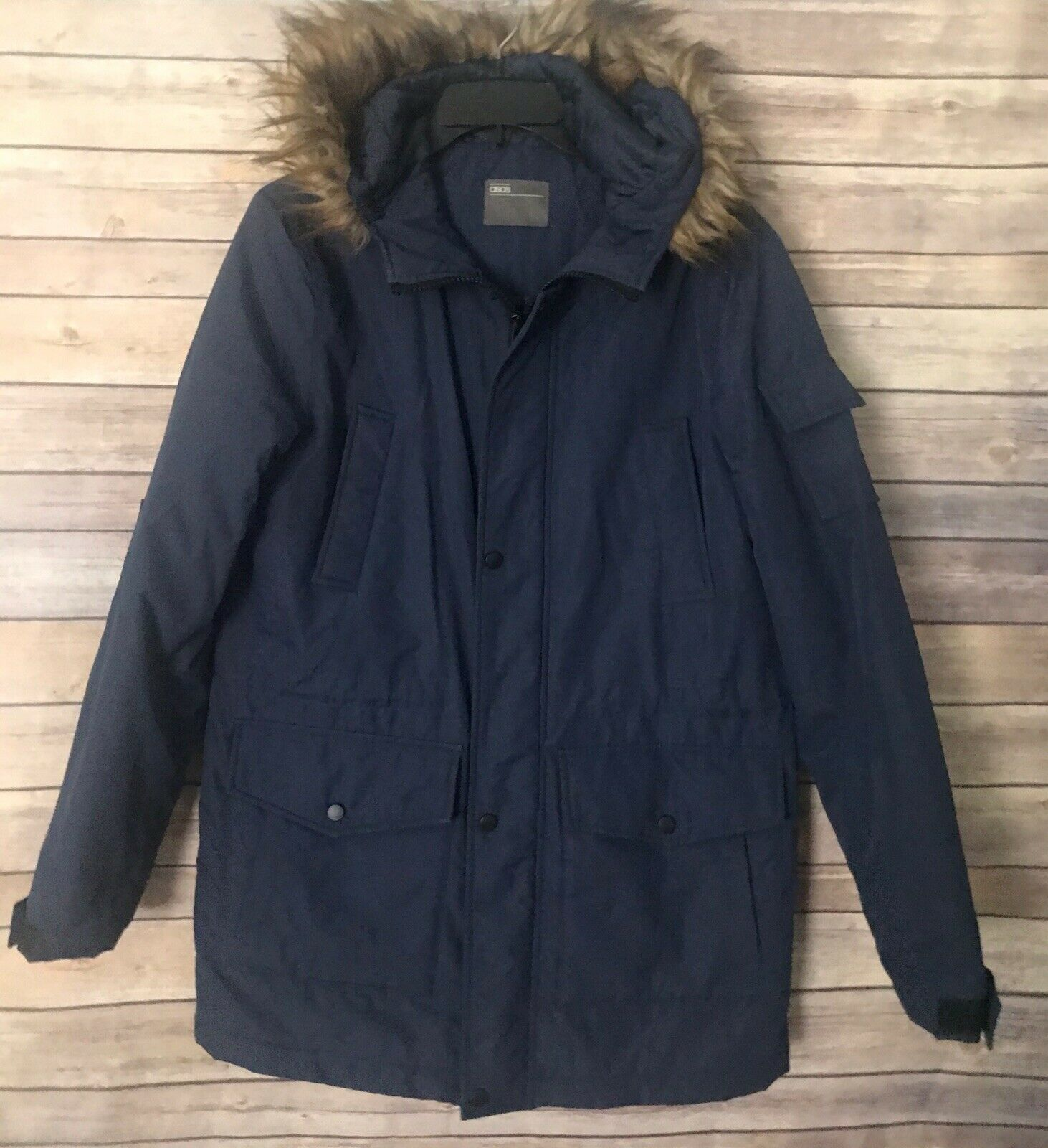 Asos Womens Sz Small Navy Blue Polyester Fur Hood Quilted Lined Coat