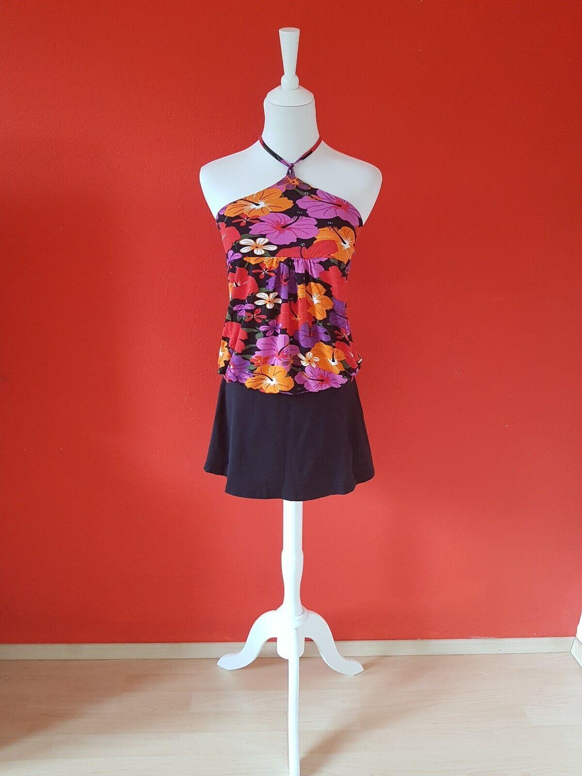 ❤ Orsay Damen Sommer Set Blumen Hibiskus Top Shirt Mini Rock schwarz Gr. 34 XS ❤