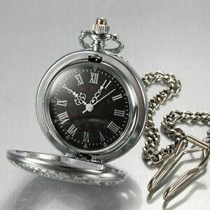 Herrenuhr-Taschenuhr-Rostfreier-Stahl-Mechanisch-Uhr-Pocket-Watch-C5P8-Silb-O9D6