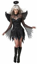 Deluxe Fallen Angel Dark Gothic Black Halloween Fancy Dress Adult Costume, Large