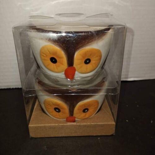 2 Horn Owl Ramekin Bowls Set Fall Thanksgiving Table Snack Dessert Cup Oven Safe