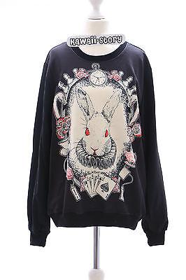 TY-Y110 Hase Bunny Rabbit Wonderland Poker Gothic Sweatshirt Pullover Harajuku