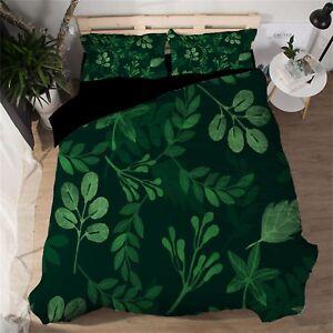 3D-Green-Leaf-601-Bed-Pillowcases-Quilt-Duvet-Cover-Set-Single-Queen-King-AU