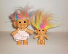 "2 Vintage Troll Dolls 5"" Pink Stripe Dress & Panties & 3"" Bright of America"