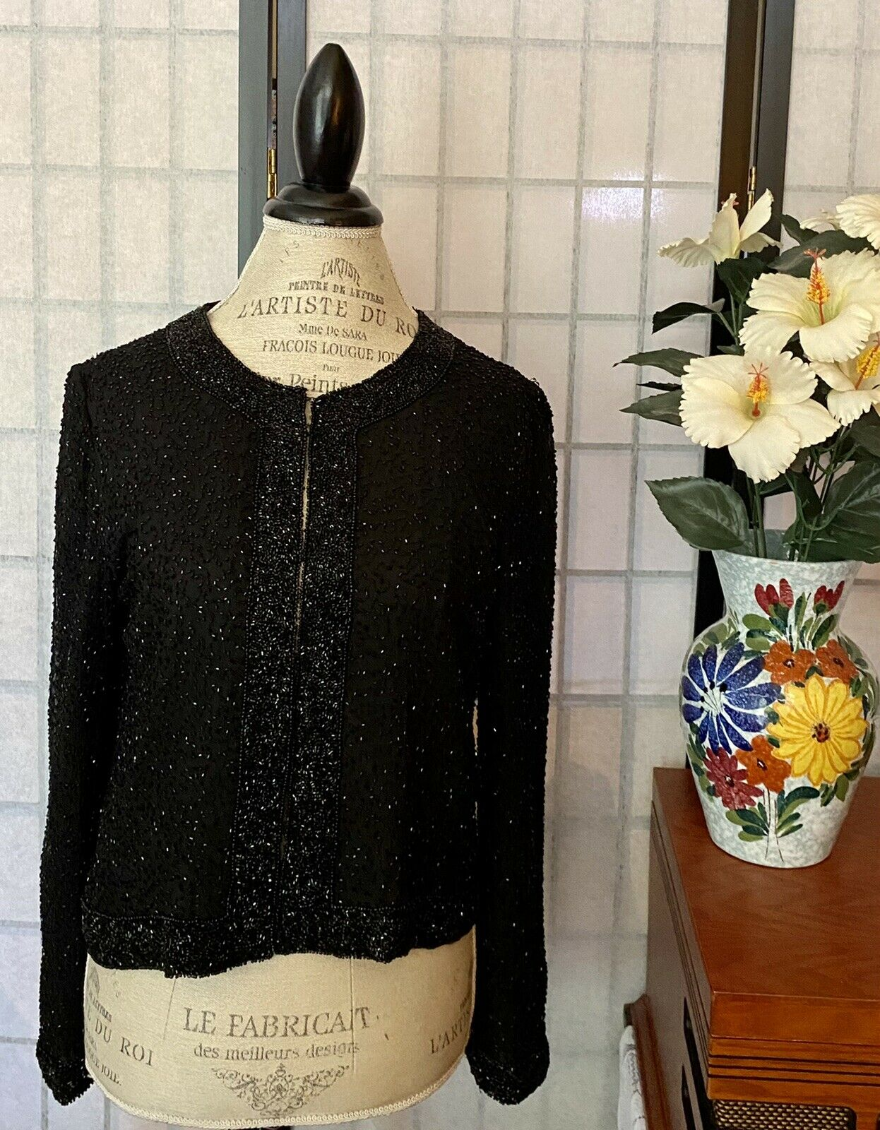 """Sténay Wom S 100% Silk Crop Beaded Sequin Top Blouse Poly Lining {Bust-40""""}"""
