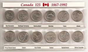Canada-Complete-Set-Of-12-Coins-25-Cent-Provinces-Of-Canada