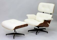 Herman Miller Eames style white real leather lounge chair & ottoman walnut wood