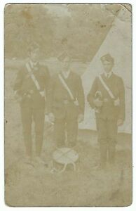 Bandsmen-on-Camp-With-Instruments-RP-PPC-Unidentified-Unit-by-Somerset-Maker