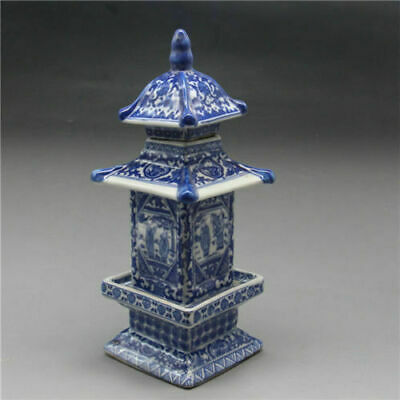 Exquisite Chinese Old blue and white porcelain layered tower W qianlong markM
