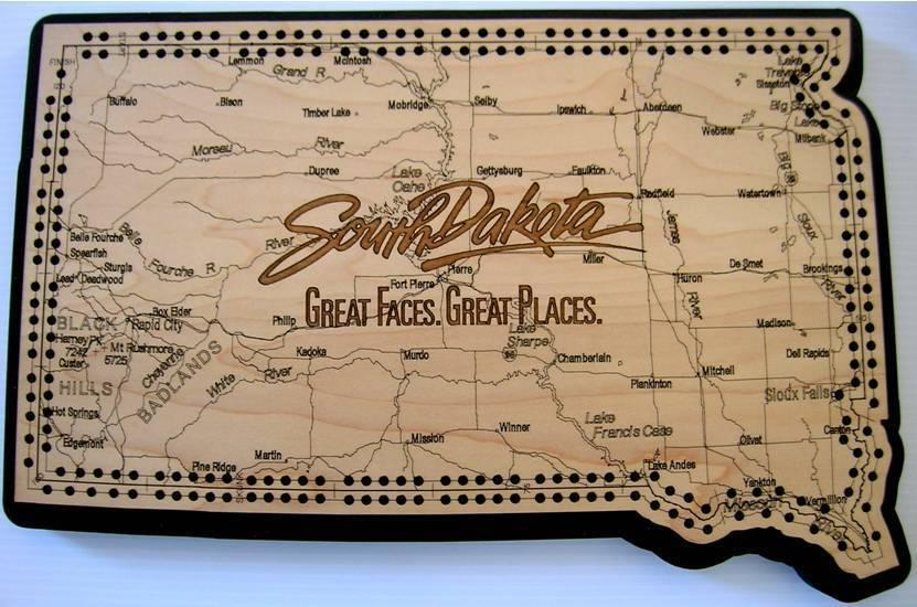 promociones emocionantes Dakota del Sur del Estado forma de hoja de ruta ruta ruta Cribbage Board  ganancia cero