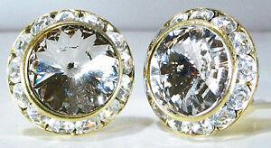 Black Diamond Cristal Boucles D'oreilles Clip Ou Percé à L'aide De Véritables Cristaux Swarovski-afficher Le Titre D'origine