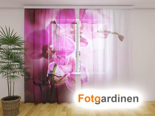 """Fotodruck Fotogardinen aus Chiffon /""""Orchidee/"""" Vorhang mit Motiv auf Maß"""