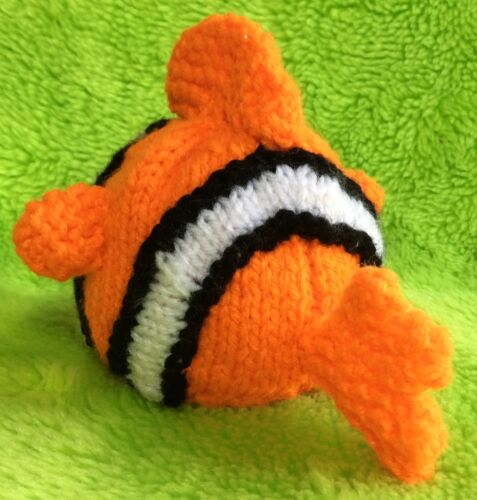 KNITTING PATTERN Nemo inspired choc orange cover or 9cms Finding Dory fish toy