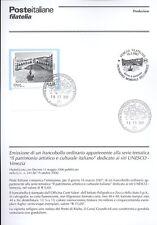 ITALIA 2007 SITO UNESCO VENEZIA   BOLLETTINO COMPLETO DI FRANCOBOLLI FDC