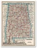 Alabama Wall Map By George Cram Usa Circa 1893 - Montgomery Tuscaloosa 18x24