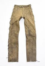 """Marrone pelle stringati BIKER MOTORCYCLE Men's Pantaloni Pants Jeans Taglia W27 L33 """""""""""