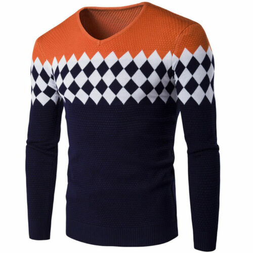 Autumn Sleeve Warm Knitwear Long Pullover Jumper Sweater Winter Knit Tops Mens