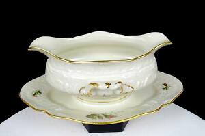 "ROSENTHAL GERMANY CLASSIC MOSS ROSE SANSSOUCCI 9"" GRAVY BOAT ATTACHED PLATE 1961"