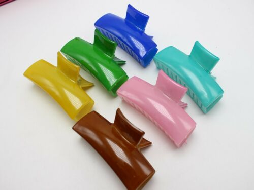 5 Mixed Jelly Color Plastic Hair Claw Grip Folding Clips Clamps 65mm DIY Craft