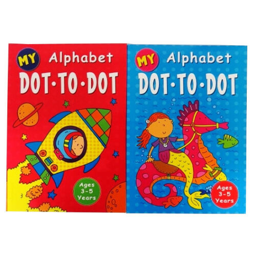 A4 Children/'s My Alphabet Colouring Dot to Dot Books Book 1 /& 2 Each 48 Pages
