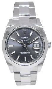 NEW Rolex Datejust 41 SS Rhodium Index Dial Oyster Mens Watch B/P '20 126300