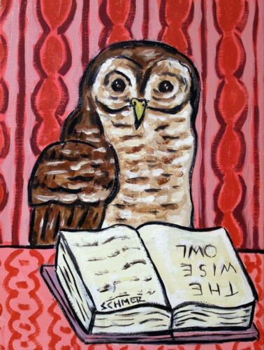 OWL READING 8x10 reproduction of painting  art artist print animals gift n