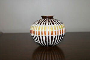 Vintage Mid Century Modern Striped Ceramic Pottery/ Vase