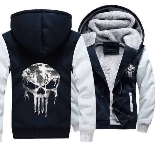 IACCES Brand Mens Punisher Hoodies Sweatshirts Thicken Bleeding Skulls Coat