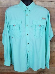 Columbia-PFG-Bahama-II-Button-Down-Shirt-Gulf-Stream-Green-Blue-Size-L