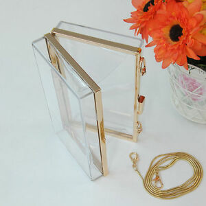 New-Womens-Transparent-Acrylic-Perspex-Clutch-Purse-Chain-Evening-Handbag-Bag