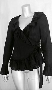 8615cf4546b42 Image is loading ANNE-FONTAINE-Marque-Deposee-Norane-Black-Linen-Ruffle-