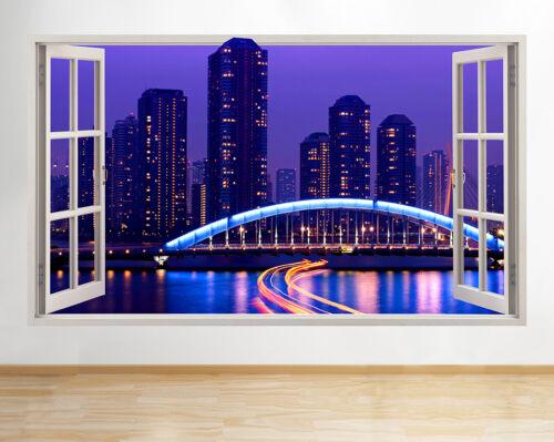 R721 Japan Tokyo Skyline Skyscraper Window Wall Decal 3D Art Stickers Vinyl Room